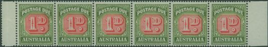 Postage Due SG D133 1d Carmine and deep Green strip of 6 s (AD1/10)